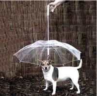 equipo para mascotas al por mayor-Cool Pet Supplies Útil Transparent PE Pet Umbrella Pequeño perro Umbrella Rain Gear con correas para perros Mantiene a las mascotas secas Cómodas en la lluvia