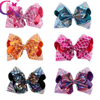 Wholesale party boutique wholesale - 8 Inch Mermaid Boutique Hair Accessories Hair Bow Baby Girls Headband Christmas Party Props Cosplay Costume KKA3596