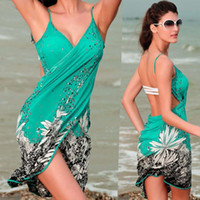 Lycra Floral Women Sexy Ladies Summer Swimwear Bikini Cover Up Beach Sarong Wrap Dress Womens New