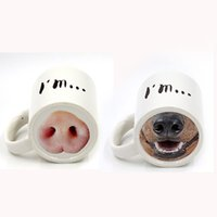 Wholesale Black Dog Nose - 301-400ml Mug Pig nose, dog nose coffee Cup black color creative ceramic cup Pistol cup can print LOGO