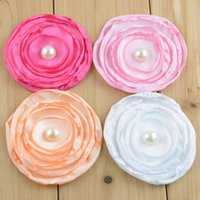 "Wholesale Headbands Trial - 100pcs lot Trial Order New Fashion 3"" Curly Chiffon Multilayers Pearl Flowers Hair flower for baby headband 15Colors"