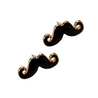 Wholesale Earrings Studs Moustache - Vintage Black Funny Handlebar Mustache Moustache Beard Ear Studs Earrings