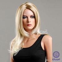 Wholesale Long Realistic Wigs - european long blond wigs for women natural wigs realistic wigs Synthetic fiber of 100% Kanekalon 1pc Lot Free Shipping 0729ZL970-27