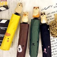 Wholesale Animal Cartoon Protection - Vintage Umbrellas Outdoor Sun Umbrella UV Protection Refreshing Outdoor Cartoon Animal Pattern Wood Handle Parasol Umbrellas Multi Colors