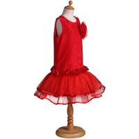 malha de emenda vestido venda por atacado-Pettigirl Varejo Vestidos de Meninas Sem Mangas Designer Crianças Lace Splice Malha Vestidos Bola Crescido Crianças Roupas GD80929-149F