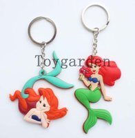 Wholesale Smallest Compass - Small wholesale 20 sets 7cm 2 Styles Cartoon Fairy Tale Princess Mermaid pvc Model Keychain Charm factory price