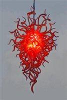fiyat kırmızı kristaller toptan satış-Ücretsiz Kargo 110 v / 120 v Toptan Fiyat Ağız Üflemeli Cam Lamba Düğün Deco Ile Kırmızı Kristal Avize Led ampuller