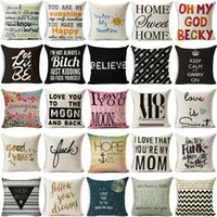 Wholesale Print Design Throw Pillows - 45*45CM Home Sofa Throw Pillowcase Pure Color Polyester White Pillow Cover Cushion Cover Pillow Case painted design Gift IB611