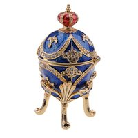 Wholesale Craft Jewelry Earrings - Vintage decoration box crown egg faberge jewelry trinket box metal crafts birthday Valentines Mother's day gifts