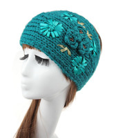 Femmes Crochet Knit Headband Hairband Flower Winter Ear Warmer Headwrap Mode Femmes Crochet Beanies Hat -J446