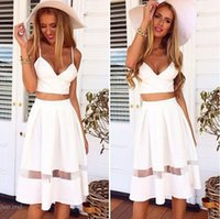 Wholesale Tulle Slip Skirt - 2015 Newest Two Piece Spaghetti Crop Top Midi Skirt Set Casual Slips Lace Tulle Patchwork Summer Holiday Beach White Long Maxi Dress M254