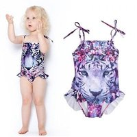 Wholesale Cute Wholesale Swimsuits - Wholesale- 2017 3-10Y Kids Girls Tiger Print Cute Tankini Swimwear One-piece Swimsuit Swimming Costume Age 3-10Y biquini 2017 new summer