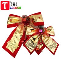 Wholesale Gold Butterfly For Decoration - Christmas gold and red bowknot butterfly bow for Chrismas tree decoration ornament Bowknot cloth art pendant 10cps lot#LS441