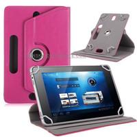 cubierta ideapad al por mayor-Fundas universales para tableta Funda giratoria de 360 grados Funda protectora de cuero para PU 7 Tapas protectoras plegables de 9 pulgadas Funda de tarjeta incorporada para mini iPad