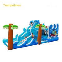 ingrosso bouncers del ponticello-Wholesale- 5602 PVC casa di rimbalzo gonfiabile trampolino salto bouncy castello buttafuori ponticello con arrampicata indood parco giochi per bambini