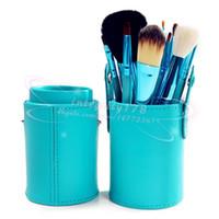 Wholesale Cylinder Makeup Brush Holder - 12 PCS Makeup Brush Set+Cup Holder Professional 12 pcs Makeup Brushes Set Cosmetic Brushes With Cylinder Cup Holder 70pcs lot DHL free