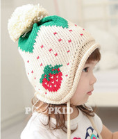 Wholesale Knitted Strawberry Girls Hat - Hot sale lovely strawberry lob knitted cap embroidery Winter Earflaps Cap Girls Children Cap wholesale top quality E79L