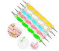 ensemble de points d'ongle achat en gros de-DHL gratuit! 5 Pcs / Set Haute Qualité Deux Dotting Dotting Pen Marbré Outil De Peinture Nail Art Dot Set # DT05