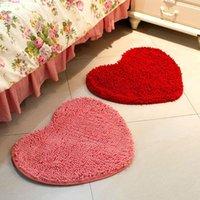 Wholesale Heart Rugs - Wholesale- 60*50CM Suede Solid Bedroom Rug Carpet Floor Bath Mat Love Heart Doormat Free shipping Drop Shipping