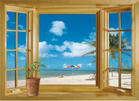 Wholesale Decorative View Window - Free shipping New arrival 3D Window Scenery Beautiful Sea Beach View wall sticker fake window wall poster decorative poster