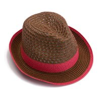 Wholesale Straw Hats Male - Wholesale-Womens Straw Fedora Hat 2015 Summer Beach Sun Panama Hats for Women Chapeau Casual Visor Casquette Caps Male Jazz Hat