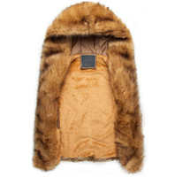 Wholesale Hunting Outwear - Fall-Winter Warm Mens Fur Vest Fashion Hooded Sleeveless Coat Hunting And Men Faux Fur Outwear Plus Size