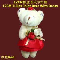 Wholesale Tulips Flower Cartoon - #Red 12cm Cartoon Plush Teddy Bear Tulips Bear With Dress For Bouquet flower package Stuffed Dolls Toys