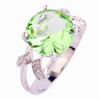 Wholesale Amethyst Ring 11 - Wholesale-2015 New Brilliant Green Amethyst 925 Silver Ring Round Cut Size 6 7 8 9 10 11 12 13 Wholesale Free Shipping For Unisex Jewelry