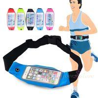 evrensel durumda iphone artı toptan satış-Iphone x 7 8 artı spor bel kemeri kılıfı çanta case evrensel su geçirmez kapak elastik kemer cebi için 6xs xr max