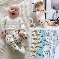 Wholesale Cute Infant Tights - INS Baby Leggings Pants Newborn Autumn Pyjama Trousers Infant Cotton PP Harem Pants Cute Cartoon Animals Geometry Kids Clothing Free DHL 413