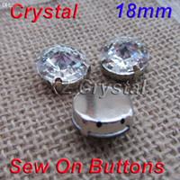 Wholesale Crystal Rivoli Diamond - Wholesale-Wholesale 18mm 100pcs lot Rivoli Clear Crystals Diamond With Metal Claws Settings 4 Holes Fancy Stones For Jewelry Decoration