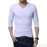 Wholesale Long Slim Polo Design - Newest design fashion long sleeve v neck solid men t shirt plus size M L XL XXL 3XL 4XL 5XL BT101