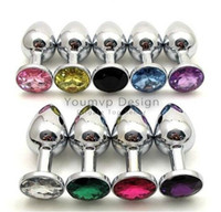 Wholesale Jeweled Anal - Unisex Butt Toys Plug Anal Silver Insert Stainless Steel Metal Plated Jeweled Sexy Stopper Anal toys For Women JJD2230
