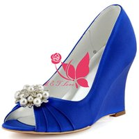Wholesale Cheap Yellow Wedge Heels - Brand New Cheap Shoes Blue Satin Wedges Bridal Beaded Shoes Peep Toe Wedding & Party Shoes WS0109 Customise Size 33 to 43