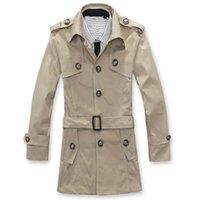 Wholesale Cheap Black Overcoats - Fall-Hot sale free shipping cheap winter long coat overcoat men pea coat fashion trench coat 2 colors Black Khaki M-XXL
