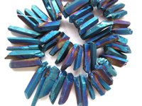 Wholesale Crystal Briolettes - 50%off--25-40mm 17inch  L Titanium quartz crystal freeform spikes points drilled briolettes jewelry chains bead