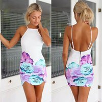 Wholesale Printed Mini Dress Casual - 2015 new fashion women print chiffon dresses sexy backless straps dress plus size free shipping #SHD1009