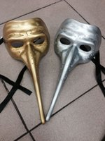 Wholesale masquerade mask nose - Mens Long Nose Zanni Gothic Venetian Mask Venetian Masquerade Mask Mardi Gras Halloween Prom One Size Fits Most (Gold, Silver, Black)