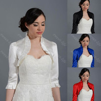 Wholesale Blue Satin Shrug - 2015 Vintage White Ivory Wedding Bridal Bolero Jacket Cap Wrap Shrug Custom Satin Half Sleeve Front Open Jacket for Wedding Evening Dress