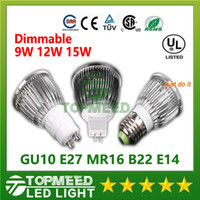 Wholesale E27 Led Spot 15w - Dimmable CREE Led Lamp 9W 12W 15W MR16 12V GU10 E27 B22 E14 110-240V Led spot Light Spotlight led bulb downlight lighting