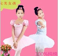 Wholesale tutus latin - Cotton Solid Puff Short Sleeve Lace Bowknot Tutu Tulle Gauze Tiered Kid Girls Ballet Dancewear Performance Latin N1838