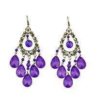 Wholesale Black Tassel Gemstone - Vintage jewelry wholesale antique gold color alloy black imitation gemstone bead tassel dangle earrings