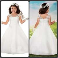 Wholesale Cheap Modern Flower Girl Dresses - Cut Formal Beading Princess Scoop Neck White First Communion Dresses vestidos de Cheap Floor Length Flower Girl Dresses With Lace Appliques