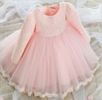 Wholesale Girls Chinese Silk Dresses - 2016 spring baby girls lace dress long sleeve children princess dresses pink white girl's prom dress with big bow kids party tutu skirts