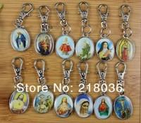 Wholesale Metal Fairy Charms - Mixed Vintage Silvers Charms Drip Virgin Mary Jesus Keychain Ring For Keys Car Bag Key Ring Handbag Couple Key Chains Gift N1602