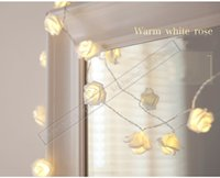 Wholesale Led Roses Wholesale - 2017 New 20 LED Pure White Rose Flower String Lights Energy-saving Christmas Tree Lights Christmas Decoration Holiday Party Garden Lights -Y