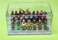 minik süper kahramanlar toptan satış-26 * 15 * 13 cm Yapı Blok Parçaları Süper Kahramanlar Avengers Minifigures Akrilik Ekran Kutusu Minifigure Vitrin Merdiven Dolapla ...