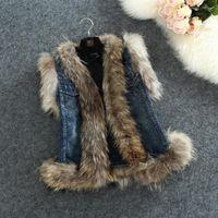 Wholesale wool jeans women for sale - Fur Denim Vest Fashion Fox Wool Waistcoat Women Autumn High Quality Stitching Jean Jacket Real Sleeveless Fur Denim Vest S XL
