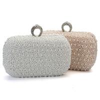 Wholesale Crystal Clutch Hard Bag - 2015 Women Evening Clutch Bag Gorgeous Pearl Crystal Beading Bridal Wedding Party Bags CrossBody Handbags Phone Lady