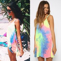 Wholesale Summer Rainbow Beach Dress - dongguan factory Summer Women Dress Vestidos Casual Strap Bohemian Print Rainbow Tie Dye Off Shoulder Gradient Mini Sexy Beach Dresses R-ZYQ